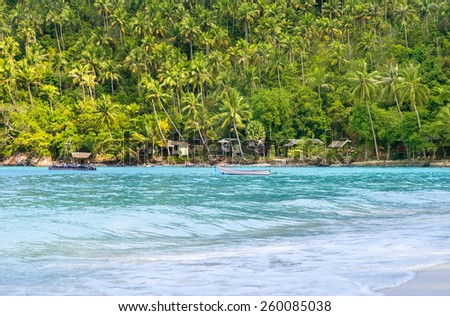 Tropical forest, sea coast and mountains. Siamese bay, Phangan, Thailand.  - stock photo