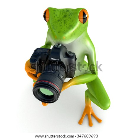 Tropical frog posing with a camera, isolated on white background