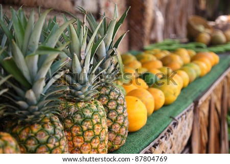 Tropical fruit at roadside stand, Hawaii - stock photo