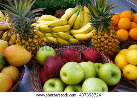 Tropical fruit display at farmer's market in Maui, Hawaii