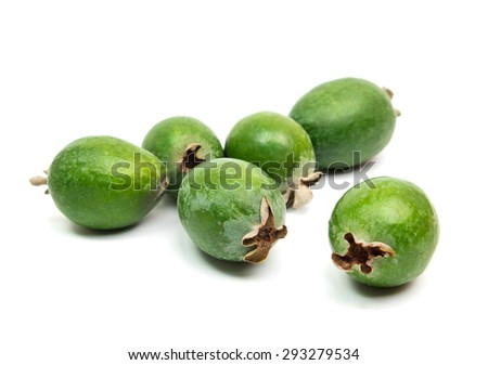 Tropical fruit feijoa (Acca sellowiana) isolated on white background
