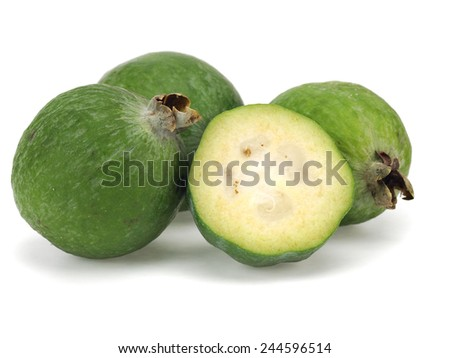 Tropical fruit feijoa (Acca sellowiana) on a white background