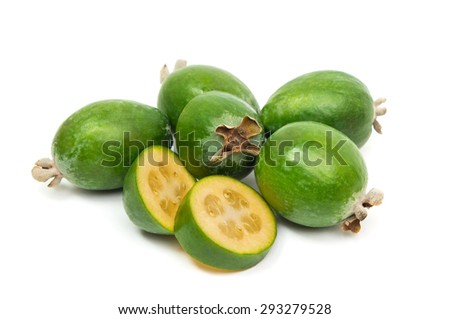 Tropical fruit feijoa cut in a half (Acca sellowiana) isolated on white background