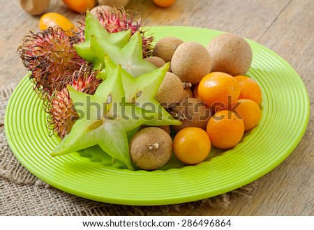 Tropical fruit in Thailand - stock photo
