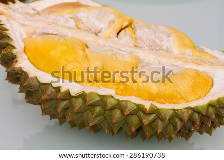 Tropical fruit Malaysia Durian in plain background - stock photo