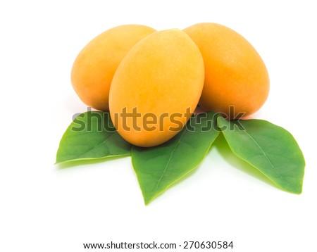 Tropical fruit. Marian plum or Plum Mango isolated on white background  - stock photo