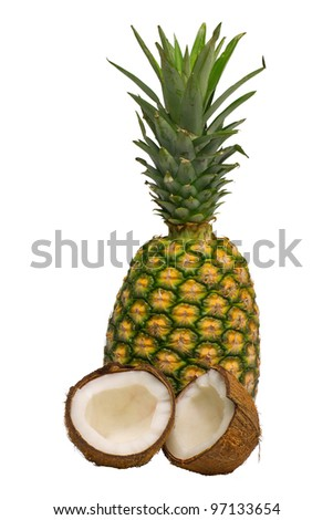 Tropical fruit pineapple and coconut on white background - stock photo