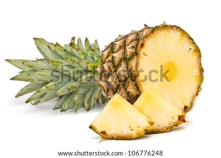 tropical fruit pineapple isolated on white background - stock photo