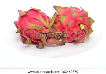tropical fruit pitahaya on a white background - stock photo