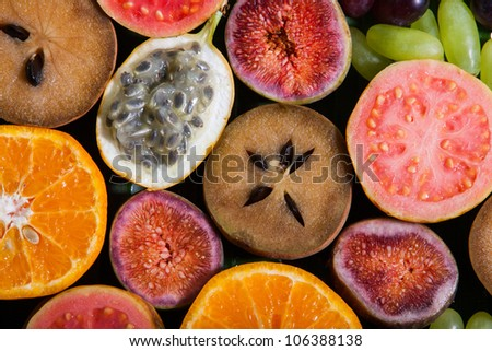 Tropical fruit slices - stock photo