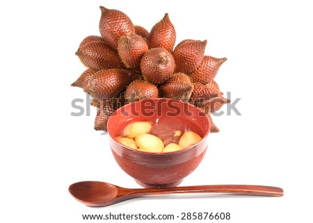 Tropical fruit : (Snake/ Salak/ Salacca/ Sala) and Desserts made from Snake fruit on white background
