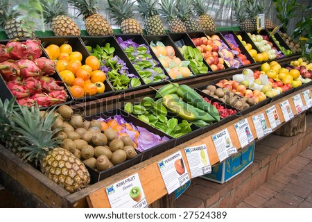 tropical fruit stand - stock photo