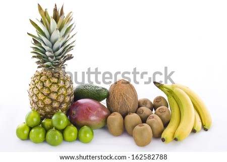 Tropical Fruits against white background - stock photo