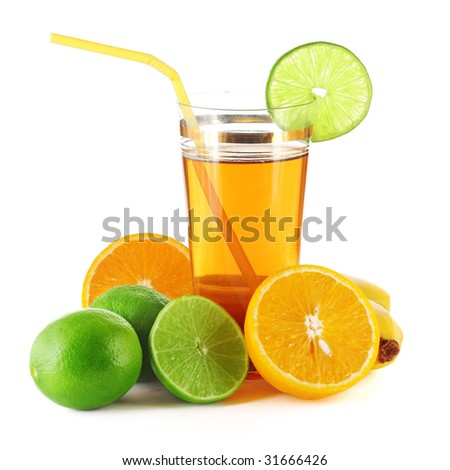 Tropical fruits and glass with juice
