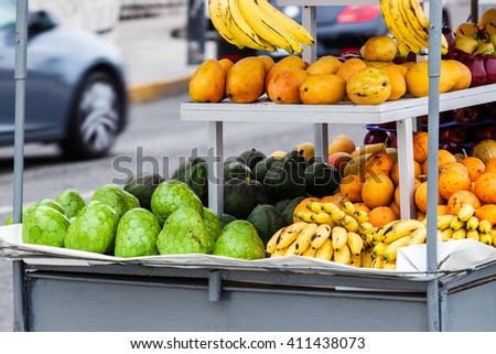 tropical fruits at a street market