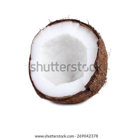 Tropical fruits, coconuts on isolated background. - stock photo