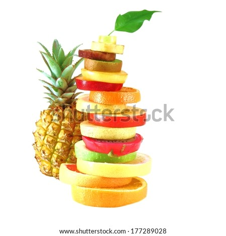 tropical fruits cut than Fruit Tower with pineapple