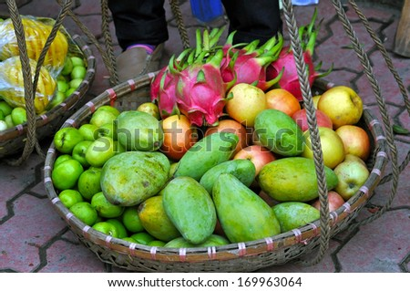 Tropical fruits in a basket