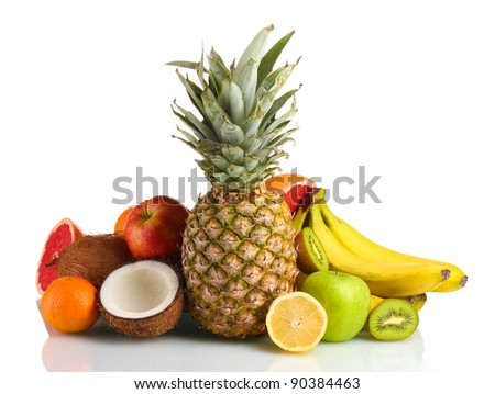Tropical fruits isolated on white - stock photo