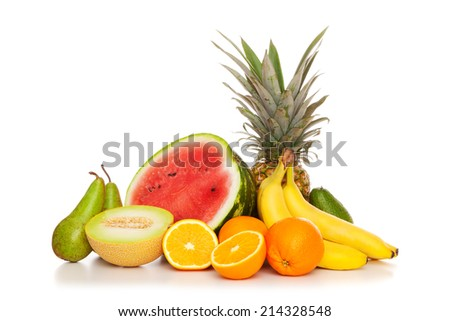 Tropical fruits isolated on white background