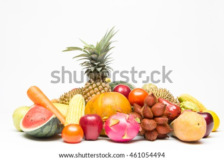 Tropical fruits isolated with white background.