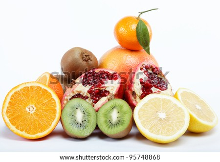 tropical fruits on a white background.