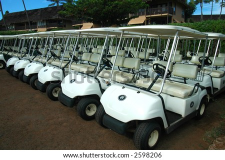 Tropical Golf Carts - stock photo