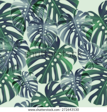 Tropical green and palm leaves. seamless stylish fashion floral botanical pattern, in Hawaiian style - stock photo