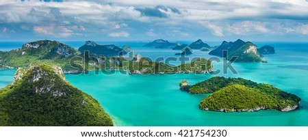 Tropical group of islands in Ang Thong National Marine Park, Thailand. Top view.  Panorama landscape. - stock photo