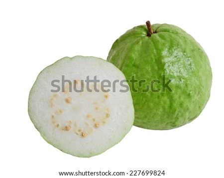 Tropical Guava Fruit isolated on white background - stock photo