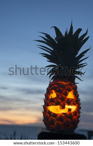 Tropical halloween lantern pineapple with copy space - stock photo