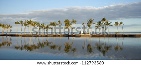 Tropical Hawaiian beach with coconut palm trees, morning blue sky and turquoise waters - stock photo