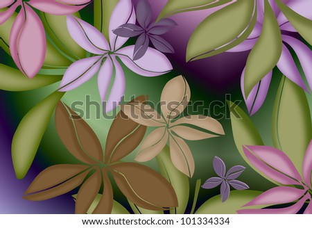 tropical hawaiian floral print with soft shading and luminating color - stock photo