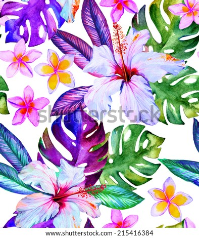 tropical hibiscus flower and leaves seamless pattern in watercolor on white  - stock photo