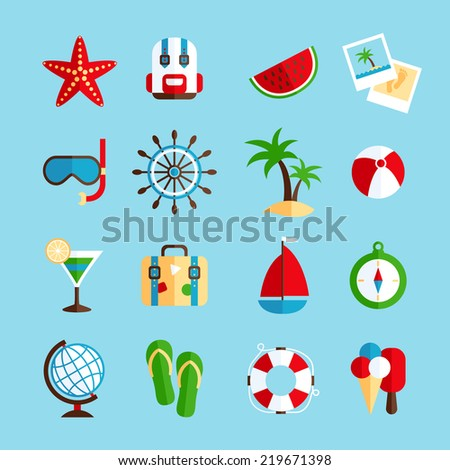 Tropical holiday vacation icons set with watermelon sailboat steering wheel and ice-cream flat isolated  illustration