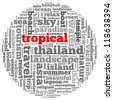 tropical info-text graphics and arrangement concept on white background (word cloud) - stock