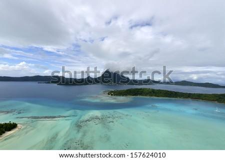 Tropical island at Bora bora - aerial view - stock photo