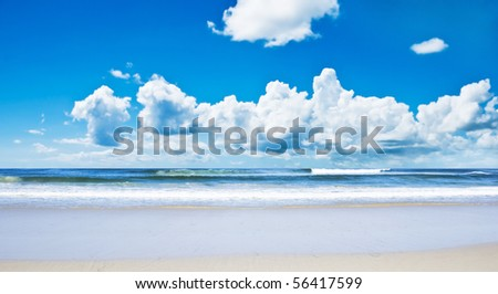 Tropical island beach with  and sky - stock photo