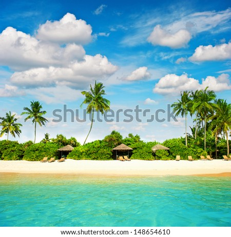 tropical island beach with perfect blue sky. paradise island with palm trees - stock photo