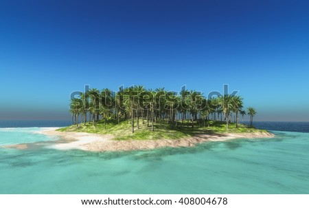 Tropical island 3d rendering - stock photo