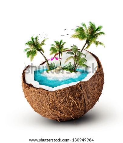 tropical island in coconut. Travelling, vacation - stock photo