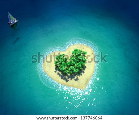 Tropical Island in form of heart - stock photo