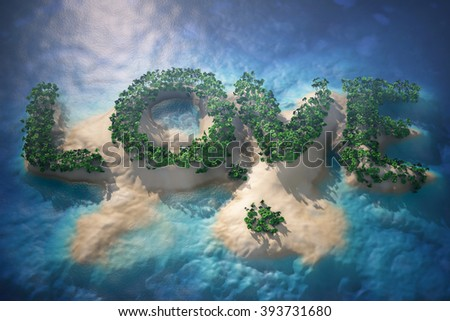 Tropical Island in Ocean with Trees as Love sign. 3d rendering