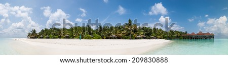 tropical island in the Maldives - stock photo