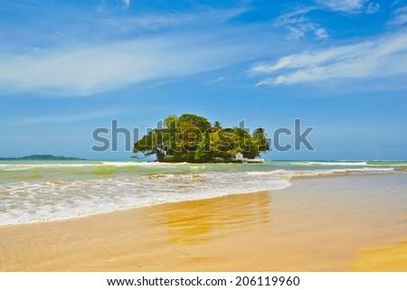 Tropical island in Weligama near Matara in Sri Lanka - stock photo