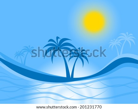 Tropical Island Indicating Coconut Tree And Exotic