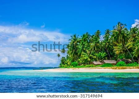 Tropical island landscape, Banyak Archipelago, Indonesia, Southeast Asia - stock photo