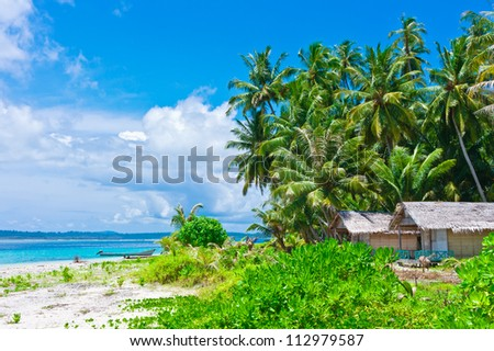 Tropical island landscape with huts, Banyak Archipelago, Indonesia, Southeast Asia