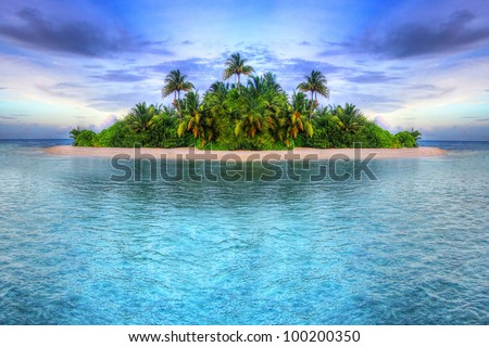 Tropical island of Maldives - stock photo