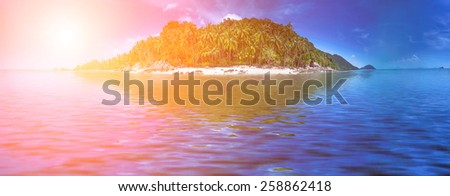 Tropical island of the coast line at Samui, Thailand. Perfect resort background - stock photo